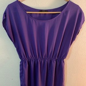 Purple Knee length dress.